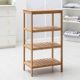 Этажерка прямоугольная №3, 4 яруса, 45×30×87,5 см, бамбук
