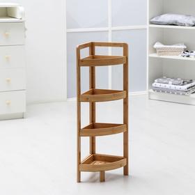 Этажерка угловая №6, 4 яруса, 32,5×23,5×80 см, бамбук