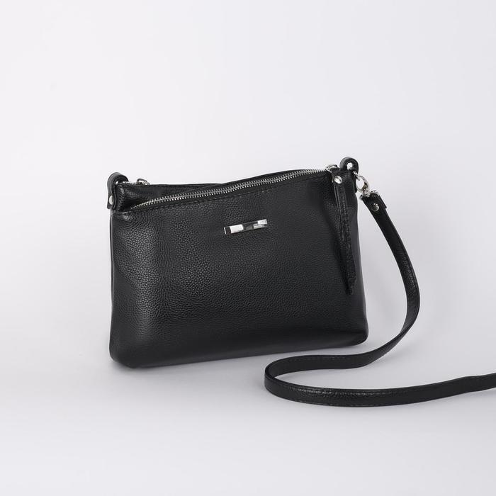 Сумка женская, 3 отдела на молнии, наружный карман, длинный ремень, цвет чёрный - фото 660054