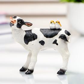 """Souvenir Polyresin miniature """"Spotted cow with birds on the back"""" 7,6x3,4x8,5 cm"""