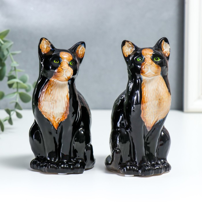 "Сувенир керамика ""Чёрная кошка с белой грудкой""  15,5х8х7 см"