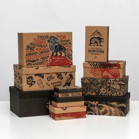 Набор подарочных крафтовых коробок 10 в 1 «Брутальность», 12 × 7 × 4 - 32.5 × 20 × 12.5 см