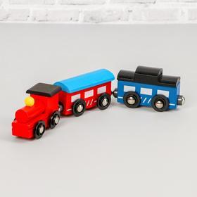 Игрушка «Поезд и 2 вагона» на магнитах, дерево, пластик, металл, 21х4,5х3см