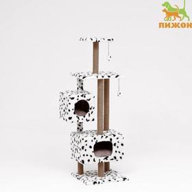 """Домик-когтеточка """"Квадратный с площадкой и полкой"""" для кошек, 65х51х173 см, джут, далматинец"""