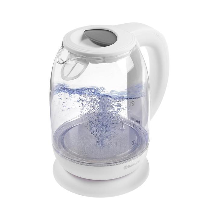 Чайник электрический Sakura SA-2718DW, стекло, 1.7 л, 2200 Вт, регулировка t°, белый