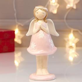 "Souvenir ceramic ""Girl angel in pink dress with white flowers - prayer"" 17х6,5x8 cm"