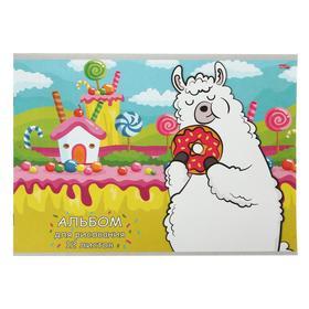 Альбом для рисования А4, 12 листов на скрепке «Лама с пончиком», бумажная обложка, блок 100 г/м2