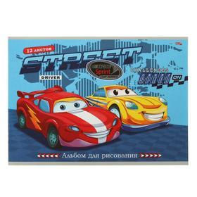 Альбом для рисования А4, 12 листов на скрепке «Веселые машинки», бумажная обложка, блок 100 г/м2