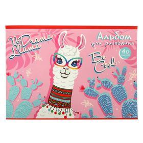 Альбом для рисования А4, 40 листов на скрепке «Лама в очках», бумажная обложка, блок 100 г/м2