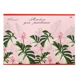 Альбом для рисования А4, 40 листов на скрепке «Декоративные растения», бумажная обложка, блок 100 г/м2