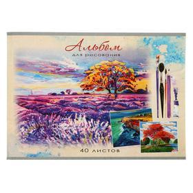 Альбом для рисования А4, 40 листов на скрепке «Лавандовое поле», обложка мелованный картон, блок 100 г/м2