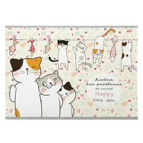 Альбом для рисования А4, 40 листов на скрепке «Жизнь котиков», обложка мелованный картон, блок 100 г/м2