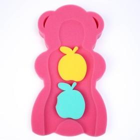 """Подкладка для купания макси """"Мишка"""", цвет красный/розовый"""