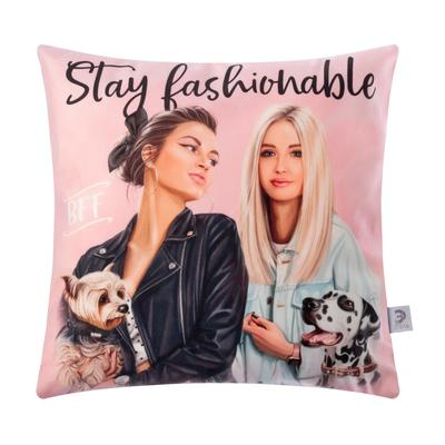 "Cover cushion Ethel ""Stay fashionable"" 40x40 cm, 100% p/e, velour"