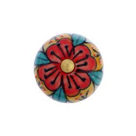 """Ручка керамическая для мебели BLUMEN HAUS """"Марокканский узор"""", ручная роспись, разноцветн."""