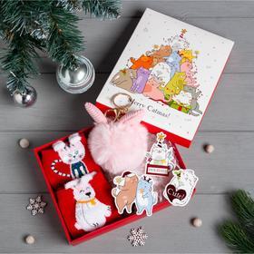 """Подарочный набор KAFTAN """"Merry Catmas"""" носки р, 36-39 (23-25 см), ёлочная игрушка"""
