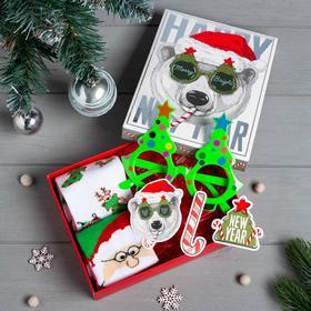 """Подарочный набор KAFTAN """"Merry Bright"""" носки р, 36-39 (23-25 см), очки"""