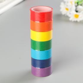 Клейкие WASHI-ленты для декора РАДУЖНЫЕ, однотонные, 15 мм х 3 м (набор 7 шт) рисовая бумага