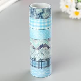 Клейкие WASHI-ленты для декора ОТТЕНКИ СИНЕГО, 15 мм х 3 м (набор 7шт) рисовая бумага