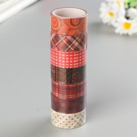 Клейкие WASHI-ленты для декора ОТТЕНКИ КРАСНОГО, 15 мм х 3 м (набор 7 шт) рисовая бумага