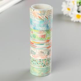 """Клейкие WASHI-ленты для декора """"Микс №1"""", 15 мм х 3 м (набор 7 шт) рисовая бумага"""