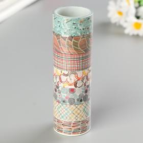 """Клейкие WASHI-ленты для декора """"Микс №3"""", 15 мм х 3 м (набор 7 шт) рисовая бумага"""