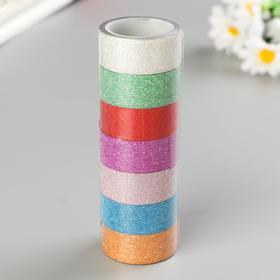 """Клейкие ленты полимерные для декора с блестками """"ИНТЕНСИВ"""", 15 мм х 3 м (набор 7 шт)"""
