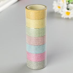 """Клейкие ленты полимерные для декора с блестками """"ПАСТЕЛЬ"""", 15 мм х 3 м (набор 7 шт)"""