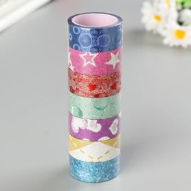 """Клейкие ленты полимерные для декора с блестками """"УЗОРЫ"""", 15 мм х 3 м (набор 7 шт)"""