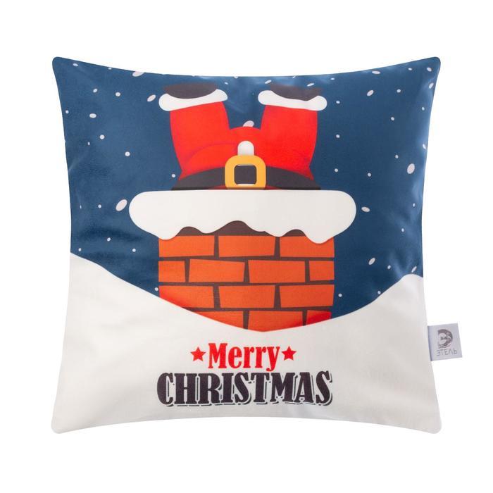 """Чехол на подушку Этель """"Santa"""" 40х40 см, 100% п/э, велюр"""