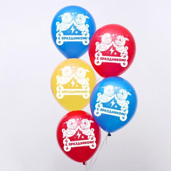 """Воздушные шары """"С днем рождения!"""", Мопсы, 12 дюйм (набор 50 шт) - фото 955459"""
