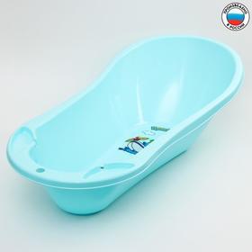 Ванна детская 100 см., с клапаном для слива воды и аппликацией, цвет светло-голубой