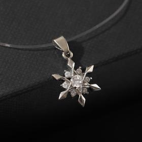 """Pendant """"new year"""" on the line, snowflake, white color in silver, 30 cm"""