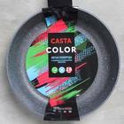 Сковорода Casta Color, d=28 см, съёмная ручка, стеклянная крышка, цвет голубой - фото 747032