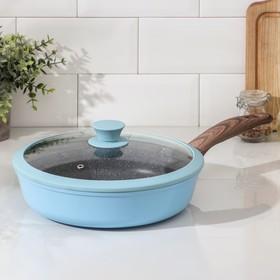 Сковорода Casta Color, d=26 см, съёмная ручка, стеклянная крышка, цвет голубой