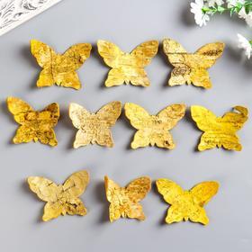 """Набор декоративных элементов из коры дерева (набор 10шт) """"Бабочки"""" 7х9 см желтый"""
