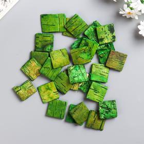 """Набор декоративных элементов из коры дерева ( 30шт) """"Квадратики"""" 3 см зеленый"""