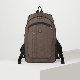 Рюкзак школьный, отдел на молнии, 3 наружных кармана, 2 боковых сетки, цвет коричневый