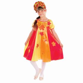 Карнавальный костюм «Осенние переливы», платье клиньями, кокошник, р. 28, рост 104 см