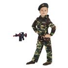 Карнавальный костюм «Спецназ», куртка с капюшоном, брюки, берет, автомат, рост 92 см - фото 105521897