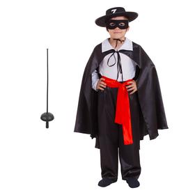 Карнавальный костюм «Зорро», шляпа, маска, белая рубашка, плащ, пояс, штаны, шпага, р. 28 рост 98-104 см