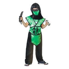 Карнавальный костюм ниндзя «Дракон», шлем, защита, пояс, штаны, оружие, маска, р. 28, рост 98-104 см