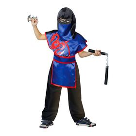 Карнавальный костюм ниндзя «Красный дракон», шлем, защита, пояс, штаны, оружие, маска, р. 28, рост 98-104 см