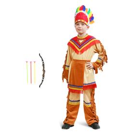 Карнавальный костюм «Индеец», куртка, брюки, фартук, головной убор, лук, р. 30, рост 110-116 см