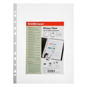 """Файл-вкладыш А4, 100 мкм ErichKrause """"Glossy Clear"""", суперплотный, прозрачный, вертикальный, 10 штук"""