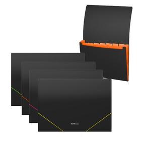 Папка-картотека на резинке 6 отделений ErichKrause Matt Classic, A4, черная