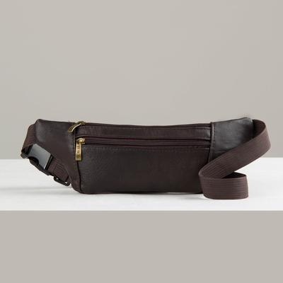 Bag on the belt 490, 33*1*12, otd zipper, brown