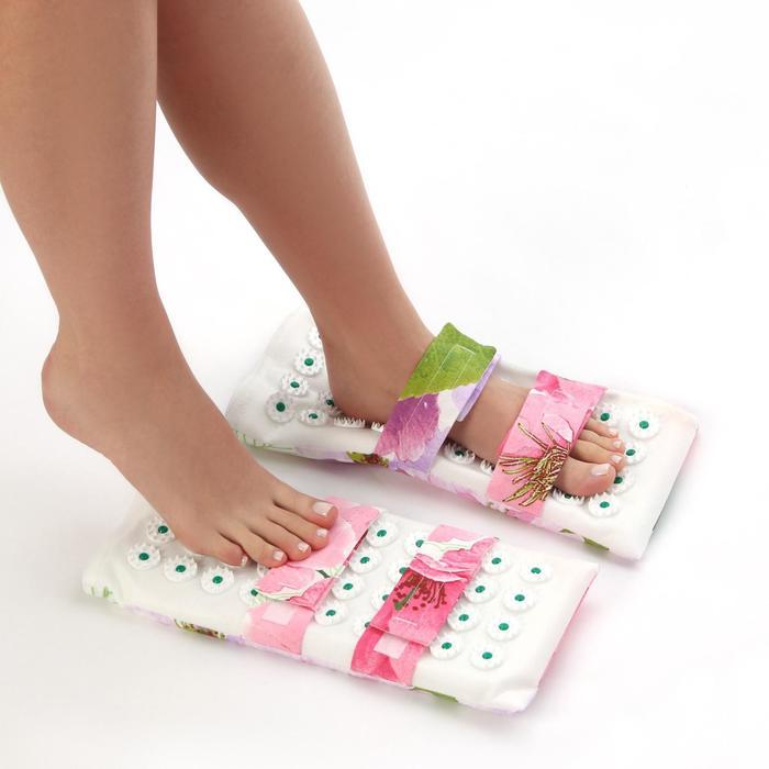 Ипликатор - коврик для ног, мягкий, 14 × 32 см, пара, цвет МИКС