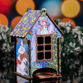"""Чайный домик новогодний """"Снеговик"""", цветной, 9.7×17.5×9.7 см"""