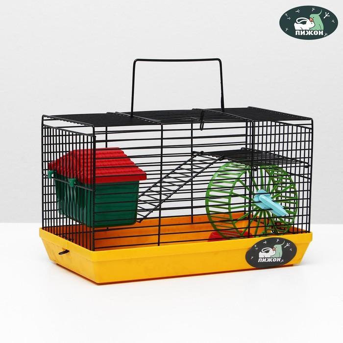 """Клетка-мини для грызунов """"Пижон"""" №2, укомплектованная, 27 х 15 х 16 см, жёлтая"""